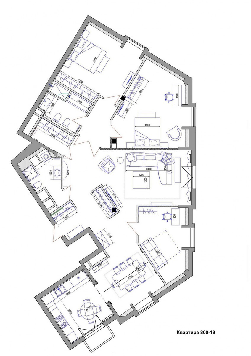 Планировка квартиры №19 в доме 800, КП Довиль