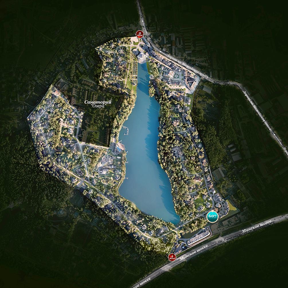 Расположение дуплекса 607 на генплане поселка Довиль