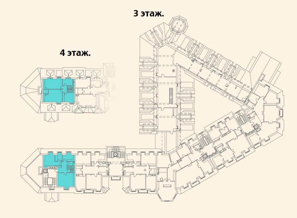 Расположение квартиры №3 на 3-4 этажах дома 800 в поселке Довиль