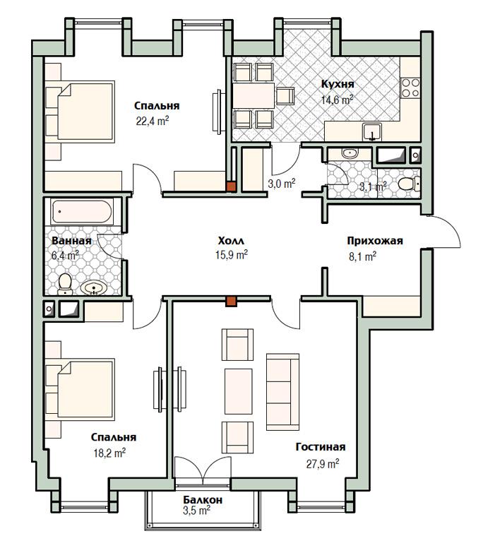 План квартиры 8 в доме 800 в поселке Довиль