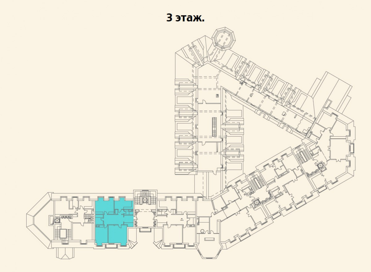 Расположение квартиры №8 на 3 этаже малоквартирного дома 800 в поселке Довиль