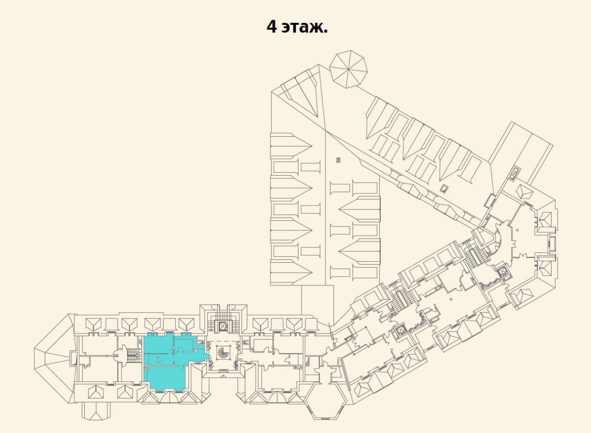 Расположение квартиры №10 на 4 этаже малоквартирного дома 800 в поселке Довиль