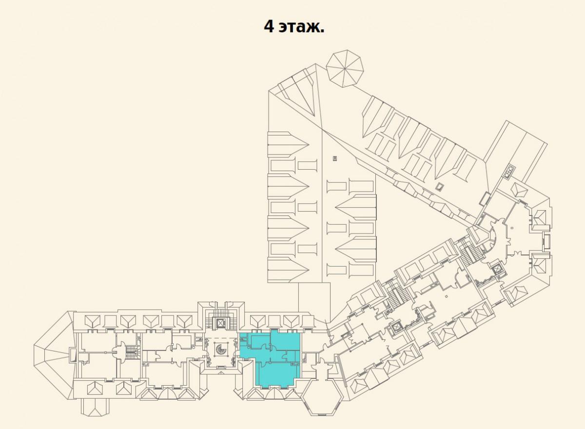 Расположение квартиры №11 на 4 этаже малоквартирного дома 800 в поселке Довиль