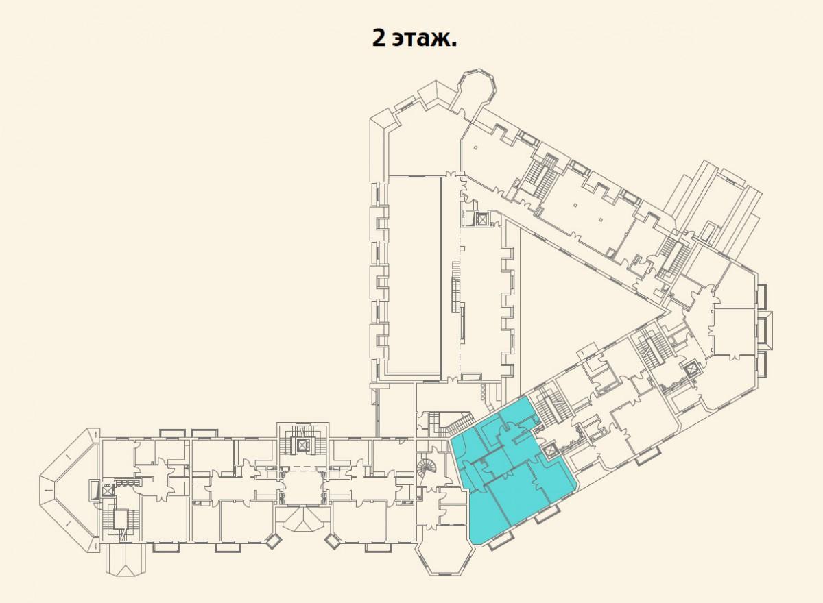 Расположение квартиры №12 на 2 этаже малоквартирного дома 800 в поселке Довиль