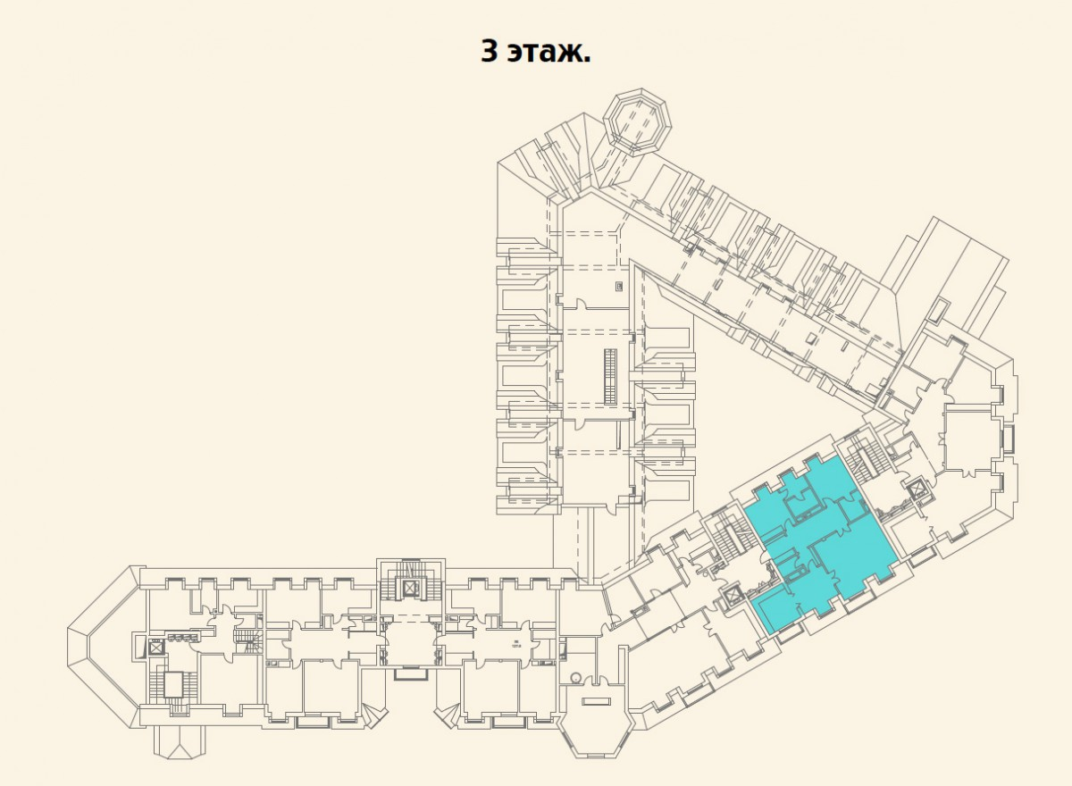 Расположение квартиры №15 на 3 этаже малоквартирного дома 800 в поселке Довиль