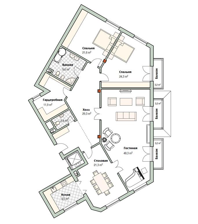 План квартиры 18 в доме 800 в поселке Довиль