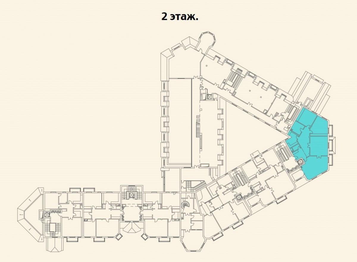 Расположение квартиры №18 на 2 этаже малоквартирного дома 800 в поселке Довиль