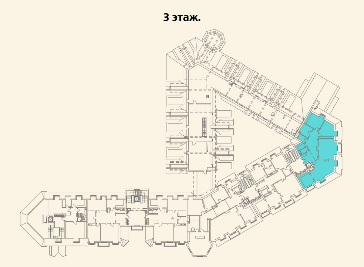 Расположение квартиры №19 на 3 этаже малоквартирного дома 800 в поселке Довиль