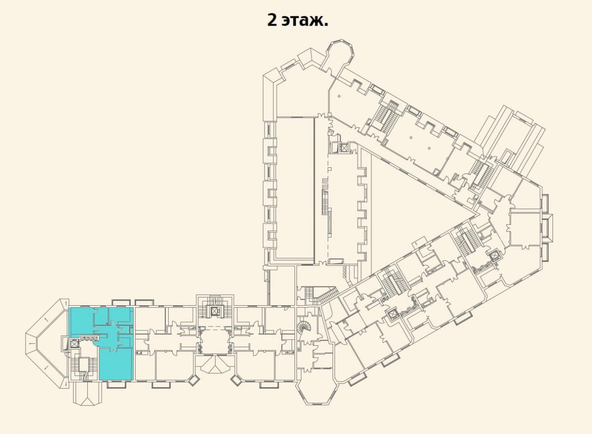 Расположение квартиры №2 на 2 этаже малоквартирного дома 800 в поселке Довиль