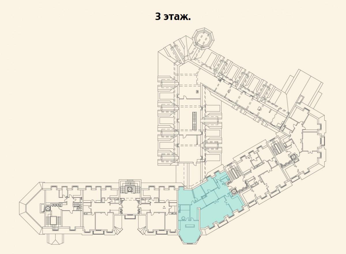 Расположение квартиры №14 на 3 этаже малоквартирного дома 800 в поселке Довиль