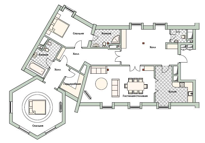 Планировка квартиры 16 на 3 этаже дома 800 в КП Довиль