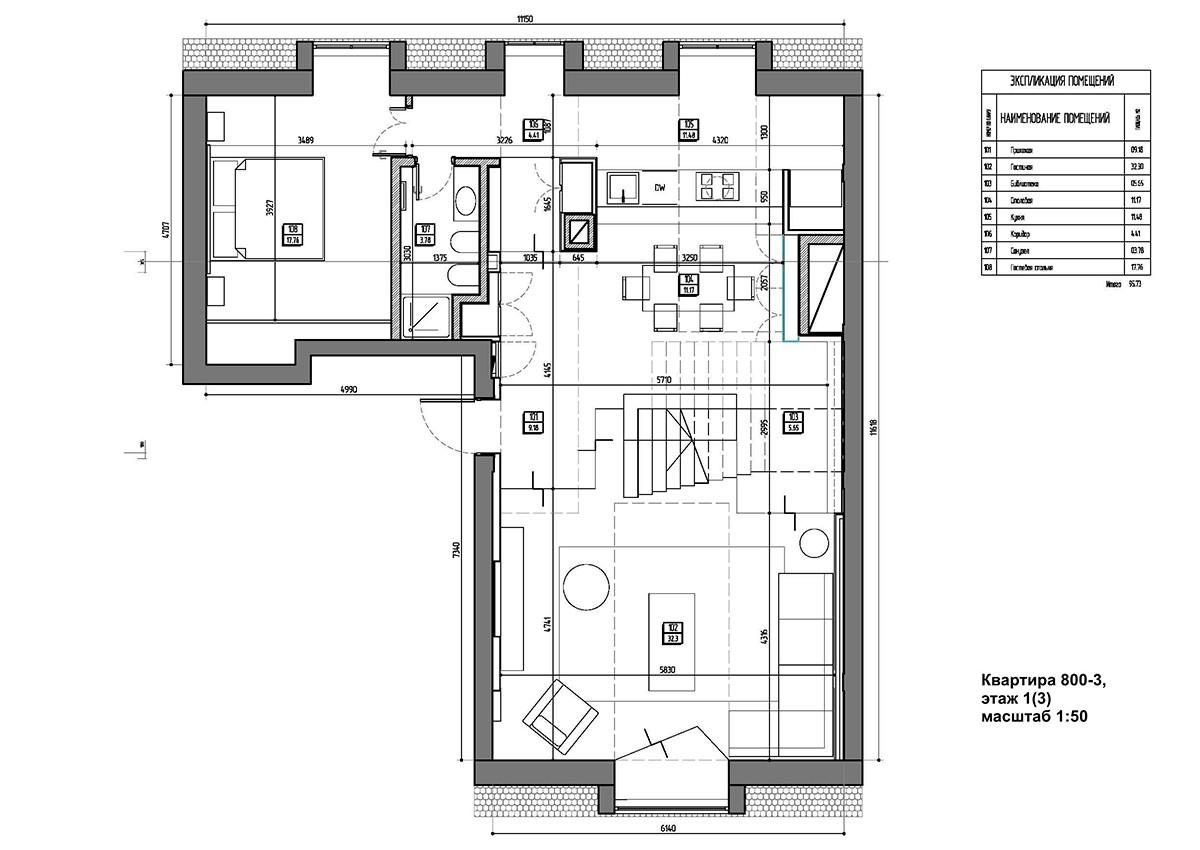 Планировка квартиры 3, дом 800 в коттеджном поселке Довиль, нижний уровень