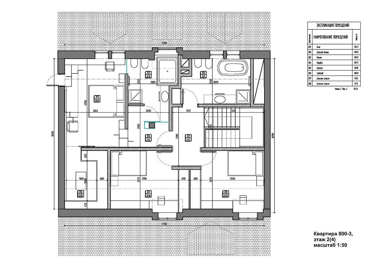 Планировка квартиры 3, дом 800 в коттеджном поселке Довиль, верхний уровень