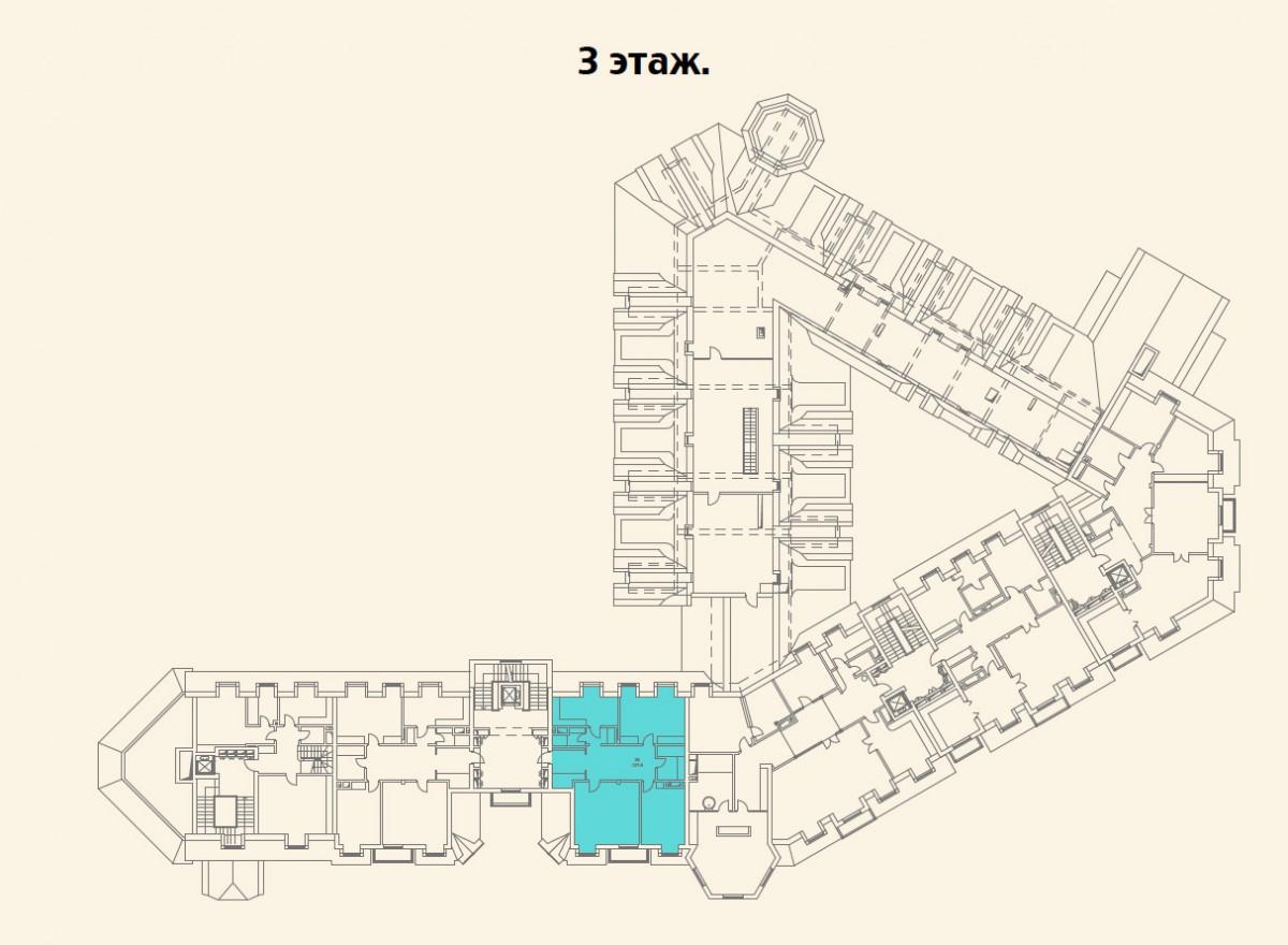 Расположение квартиры №9 на 3 этаже малоквартирного дома 800 в поселке Довиль