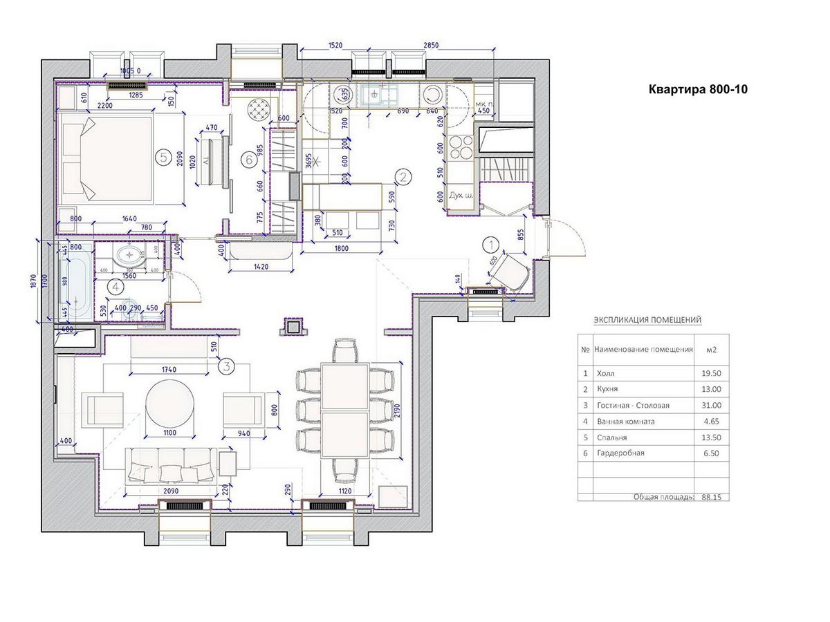 Планировка квартиры 10 в доме 800, КП Довиль