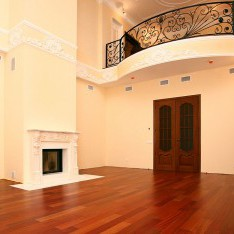 Гостиная с отделкой, высокие потолки и установленный камин, дом 115 (Монпелье)